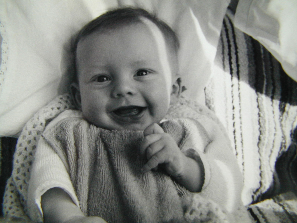 A baby photo, probably taken by Mum with her Yashica SLR camera that went everywhere.