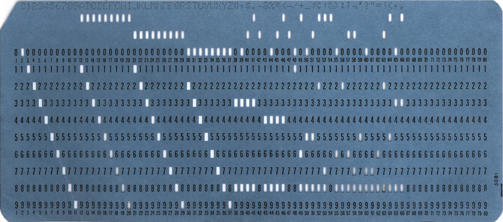 IBM-style computer punch card. It's about 19 centimetres across and stores 80 bytes of data. The 1.24 megabyte image of the card shown here would take over 16,000 of these cards to store.